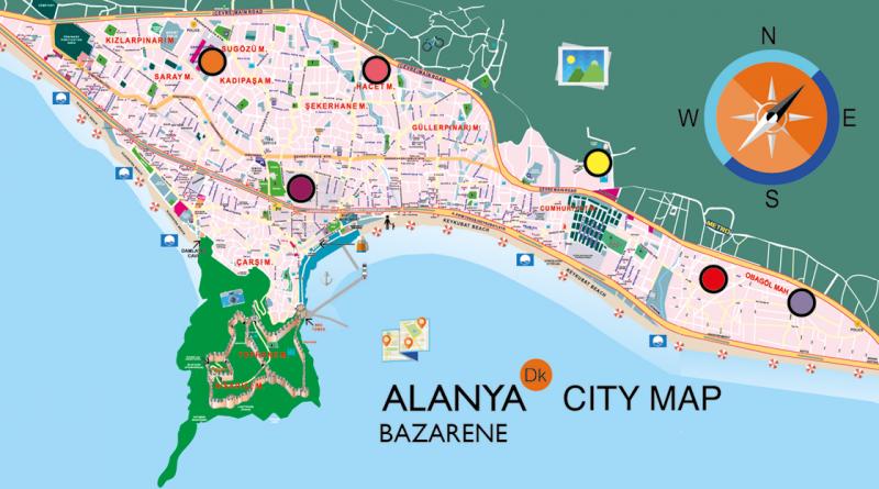 Bykort over Alanyas Bazarer, bykort over bazar, bykort over bazar alanya, bykort over alanya, Bazar i alanya, bazar alanya, hvor er der bazar i alanya, hvilke dage er der bazar i alanya.
