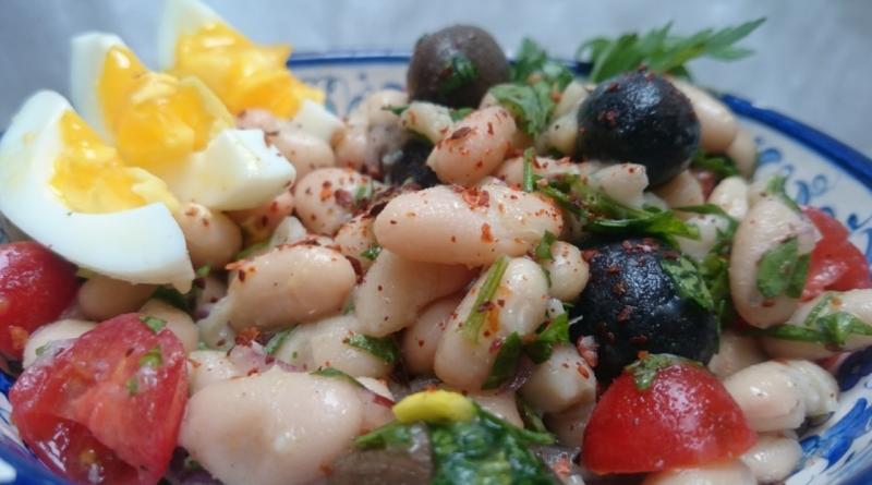 tyrkisk opskrifter, opskrifter tyrkiet, tyrkisk bønne salat, tyrkisk salat med hvide bønner