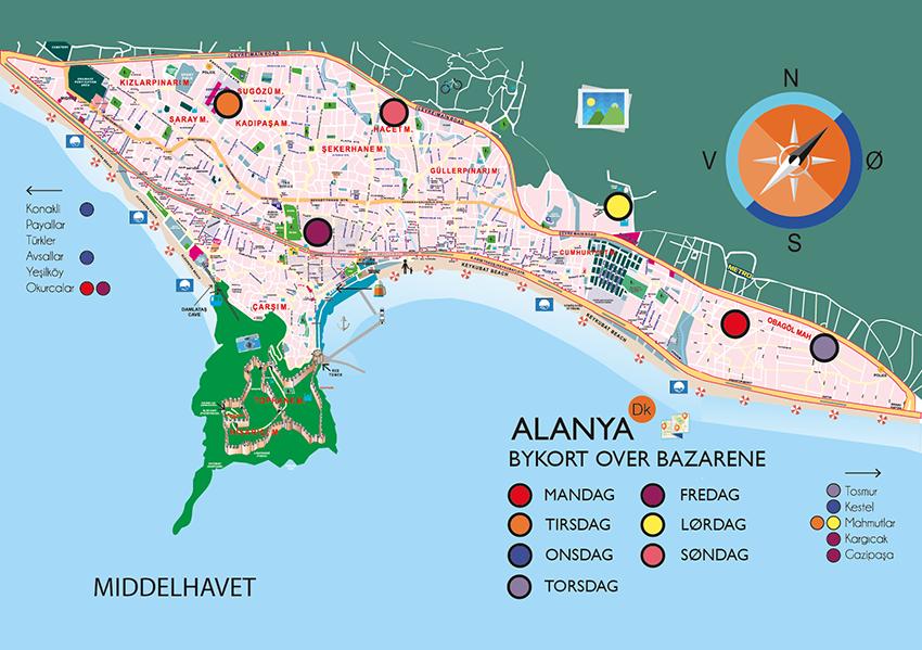 Markeder i Alanya, alanya markeder, markedsdage i Alanya, alanya markedsdage, grøntsagsmarked i Alanya, shopping i Alanya, Alanya shopping, Bykort over Alanyas Bazarer, bykort over bazar, bykort over bazar alanya, bykort over alanya, Bazar i alanya, bazar alanya, hvor er der bazar i alanya, hvilke dage er der bazar i alanya.