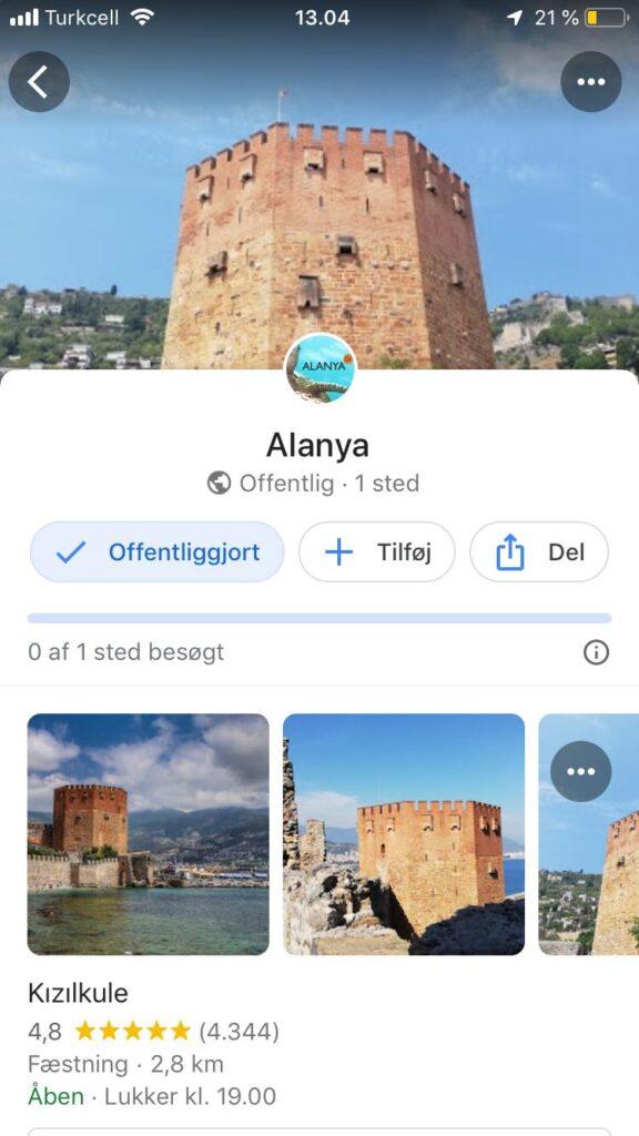 Googlemaps offline, sådan bruger du googlemaps offline, Alanya google maps, kort over Alanya, guide til Alanya, Alanya guide