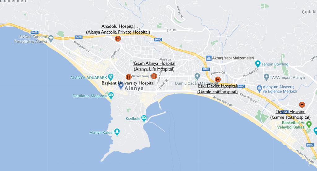 Hospitaler i Alanya, Alanya hospitaler, sygehuse i Alanya, corona test i Alanya, Skadestuer i Alanya, Alanya skadestuer,